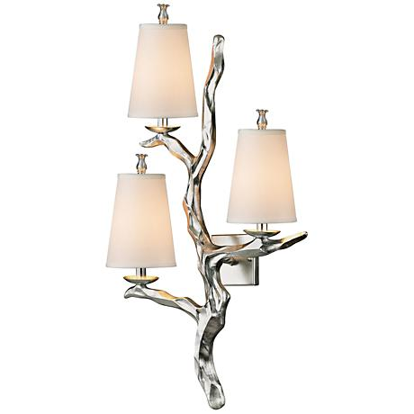 "Sprig 36"" High Silver Leaf 3-Light Wall Sconce"