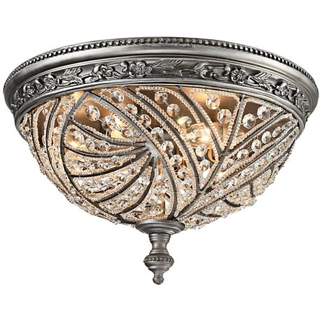 "Renaissance 16"" Wide Weathered Zinc 4-Light Ceiling Light"