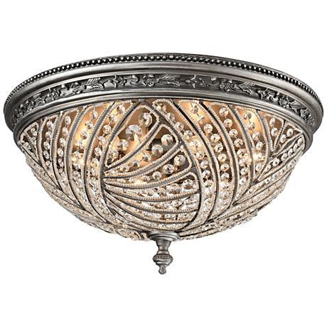 "Renaissance 24"" Wide Weathered Zinc 6-Light Ceiling Light"