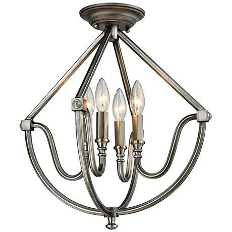 "Stanton 16""W Weathered Zinc - Brushed Nickel Ceiling Light"