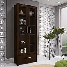 Serra 1.0 Tobacco Wood 2-Door Bookcase
