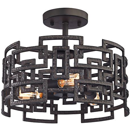 "Garriston 16"" Wide Clay Iron 3-Light Ceiling Light"
