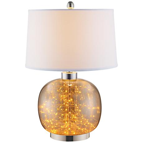 Glenlowe Cognac Glass Led Table Lamp With Night Light 9x429