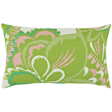 "Floral Hibiscus 20""x12"" Lumbar Indoor-Outdoor Pillow"