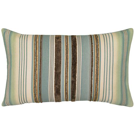 "Aqua Stripe 20""x12"" Lumbar Indoor-Outdoor Pillow"
