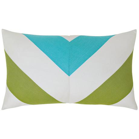 "Poolside Chevron 20""x12"" Lumbar Indoor-Outdoor Pillow"