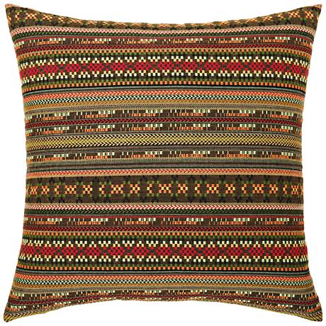 "Elaine Smith Suzani Stripe 20"" Square Indoor-Outdoor Pillow"
