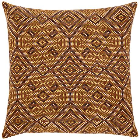 "Elaine Smith Nutmeg Tile 20"" Square Indoor-Outdoor Pillow"
