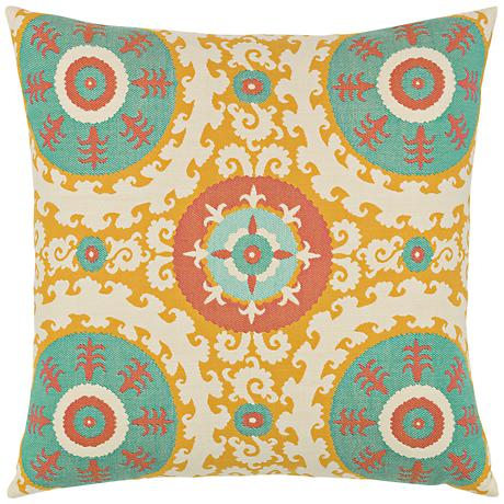 "Elaine Smith Suzani Candy 22"" Square Indoor-Outdoor Pillow"