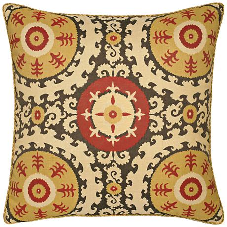 "Elaine Smith Suzani 22"" Square Indoor-Outdoor Pillow"