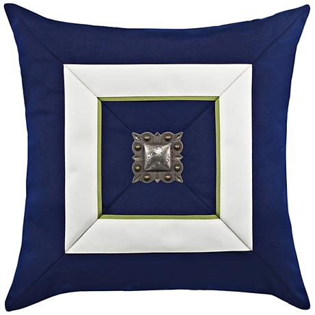 "Navy Cruise Jewel 19"" Square Indoor-Outdoor Pillow"