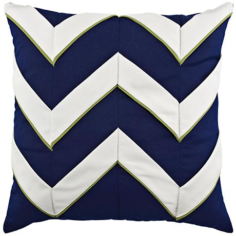 "Navy Cruise Chevron 20"" Square Indoor-Outdoor Pillow"