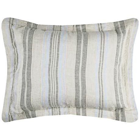Terrance Multi-Color Gray Stripe Linen Standard Pillow Sham