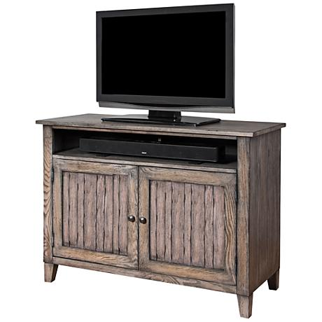 Harmon Weathered Gray 2-Door Small Wood-Slat TV Console