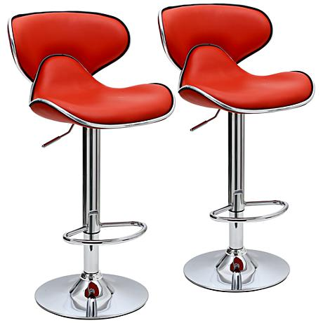 Classy Pablo Red Faux Leather Adjustable Barstool Set of 2