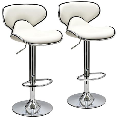 Classy Pablo White Faux Leather Adjustable Barstool Set of 2
