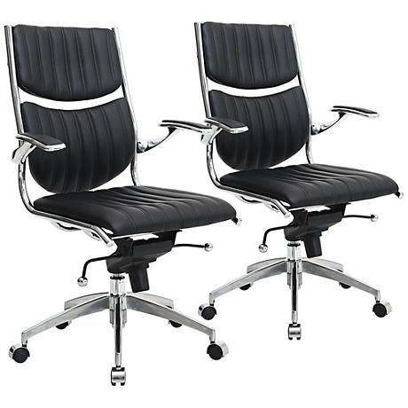 Verdi Ergonomic Black Adjustable Office Chair Set of 2