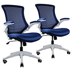 Lenox Royal Blue Mesh Adjustable Office Chair Set of 2