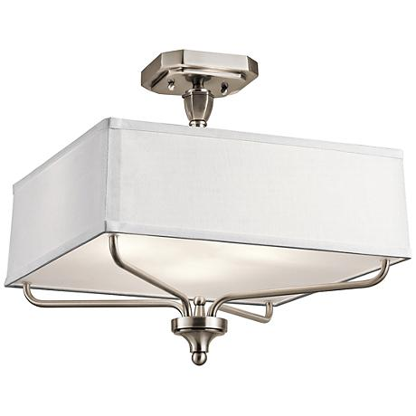"Kichler Arlo 15"" Wide Classic Pewter Square Ceiling Light"
