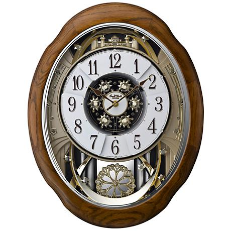 "Joyful Meditation Oak 21"" High Motion Wall Clock"
