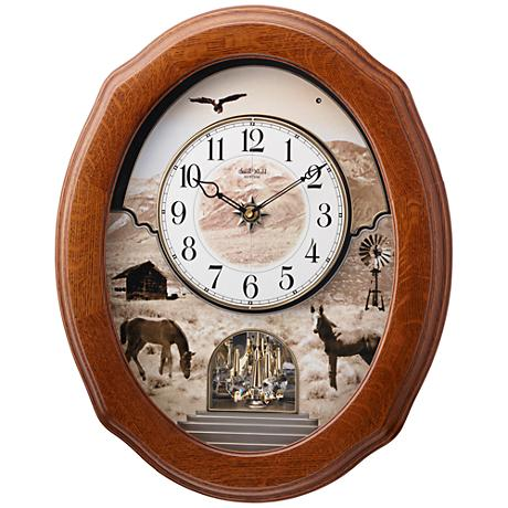 "American Prairie 20 3/4"" High Oak Motion Wall Clock"