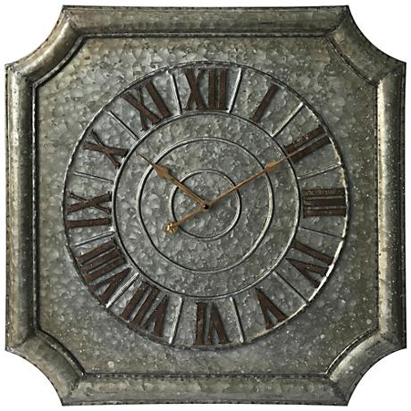 "Stamped Metal 22 3/4"" Octagon Wall Clock"