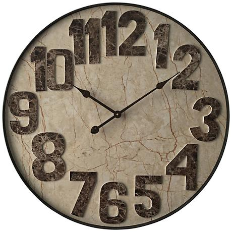 "Marbled Mocha 27 1/2"" Round Wall Clock"