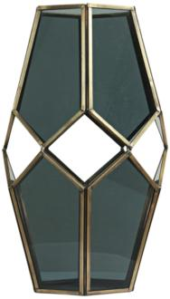 "Helix II Brass and Glass 11"" High Modern Geometric Vase (9Y920) 9Y920"