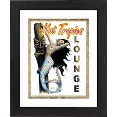 "Hot Tropical Mermaid Black Frame 23 1/4"" High Wall Art"