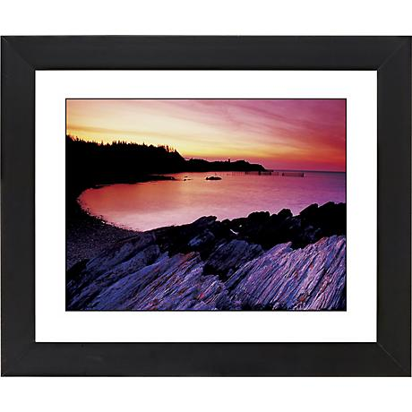 "Red Lake Sunset Black Frame Giclee 23 1/4"" Wide Wall Art"