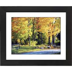 Falling Leaves Black Frame Giclee Wall Art