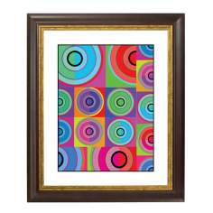 Circle Noise Gold Bronze Frame Giclee Wall Art