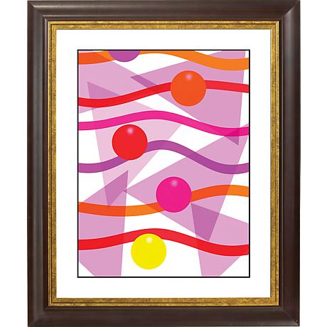 "Pink Gold Bronze Frame Giclee 20"" High Wall Art"