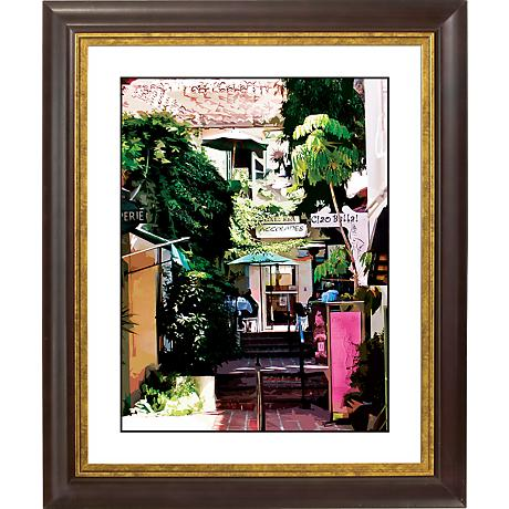 "Sidewalk Cafe Gold Bronze Frame Giclee 20"" High Wall Art"