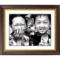 "Laughter Gold Bronze Frame Giclee 20"" Wide Wall Art"
