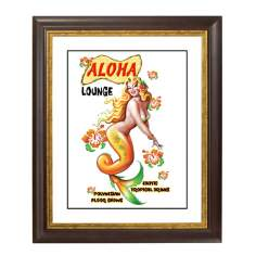 Aloha Mermaid Gold Bronze Frame Giclee Wall Art