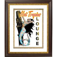 "Hot Tropical Mermaid Gold Bronze Frame 20"" High Wall Art"