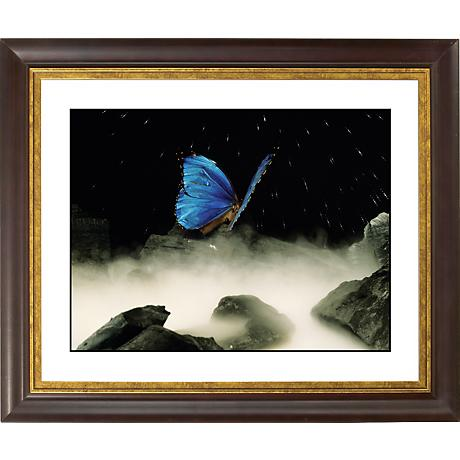 "Blue Butterfly Gold Bronze Frame Giclee 20"" Wide Wall Art"