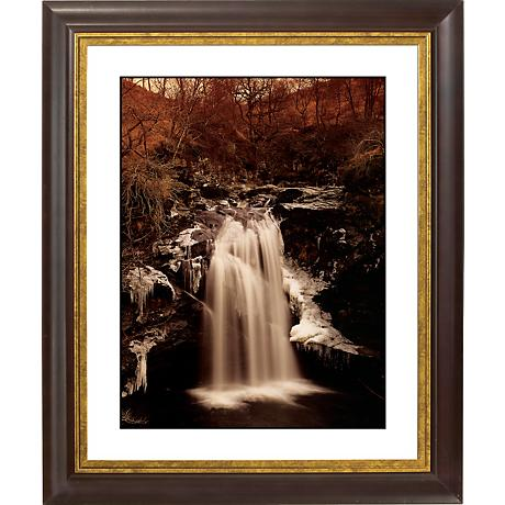 "Waterfall II Gold Bronze Frame Giclee 20"" High Wall Art"
