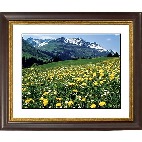 "Mountain Flower Meadow Gold Bronze Frame 20"" Wide Wall Art"