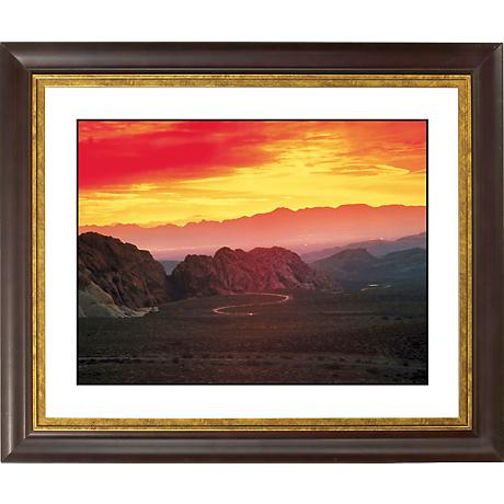 "Desert Mesa Sunrise Gold Bronze Frame 20"" Wide Wall Art"