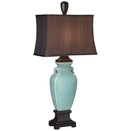 Turquoise Blue Crackle Table Lamp