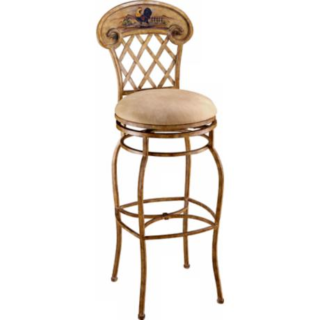 "Hillsdale Rooster Hand-Painted 31 1/2"" High Swivel Bar Stool"