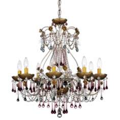 Schonbek Rose 8-Light Antique Plum Crystal Chandelier