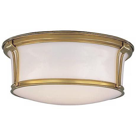 "Newport 15"" Wide Aged Brass Ceiling Light"