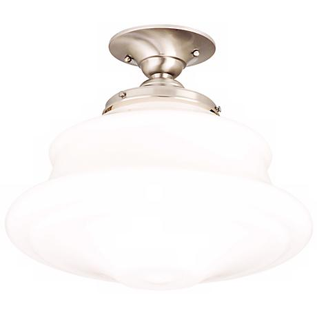 "Schoolhouse Button 16"" Wide Satin Nickel Ceiling Light"