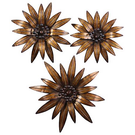 Uttermost Set of 3 Golden Gazanias Wall Art