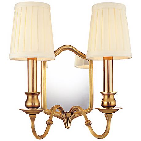 "Endicott Aged Brass 2-Light 11 1/2"" High Wall Sconce"