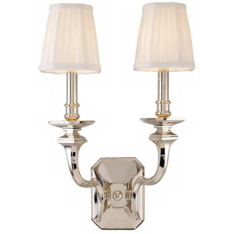 "Arlington Double Light 18 3/4"" High Nickel Wall Sconce"