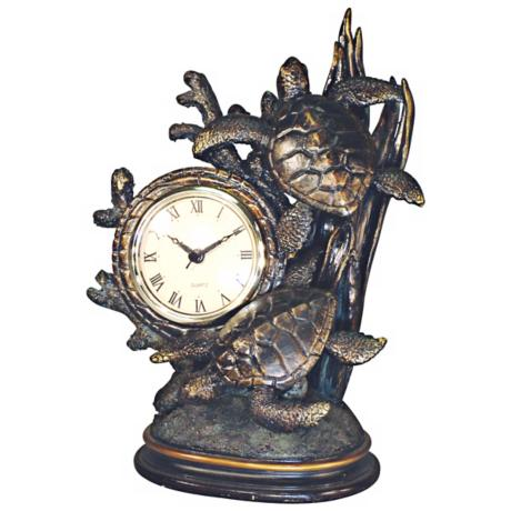"Sea Turtles Bronze 12"" High Tabletop Clock"